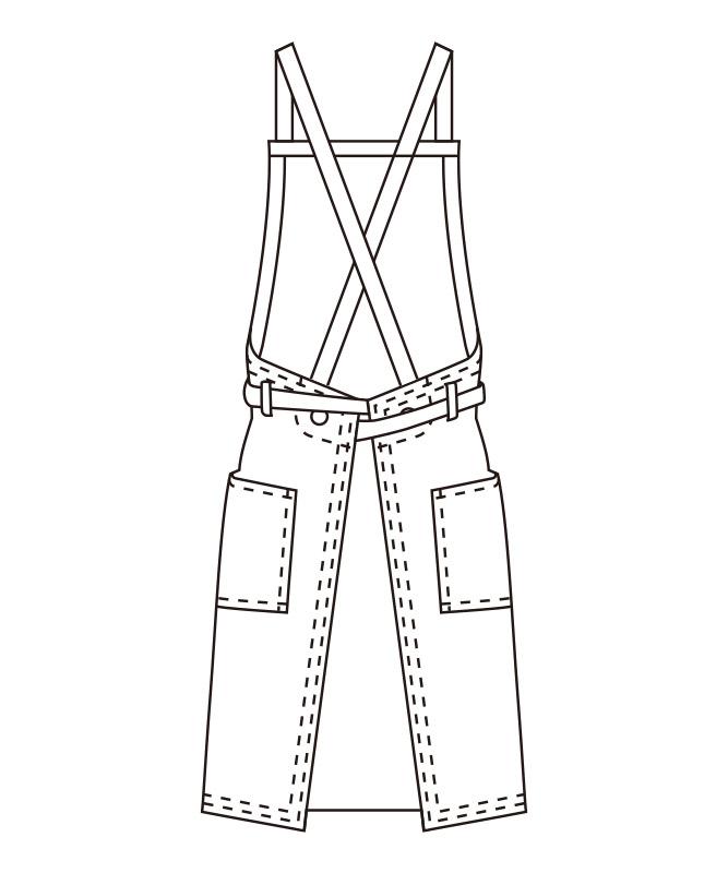 胸当てエプロン(ストライプ)[KAZEN製品] APK494-S
