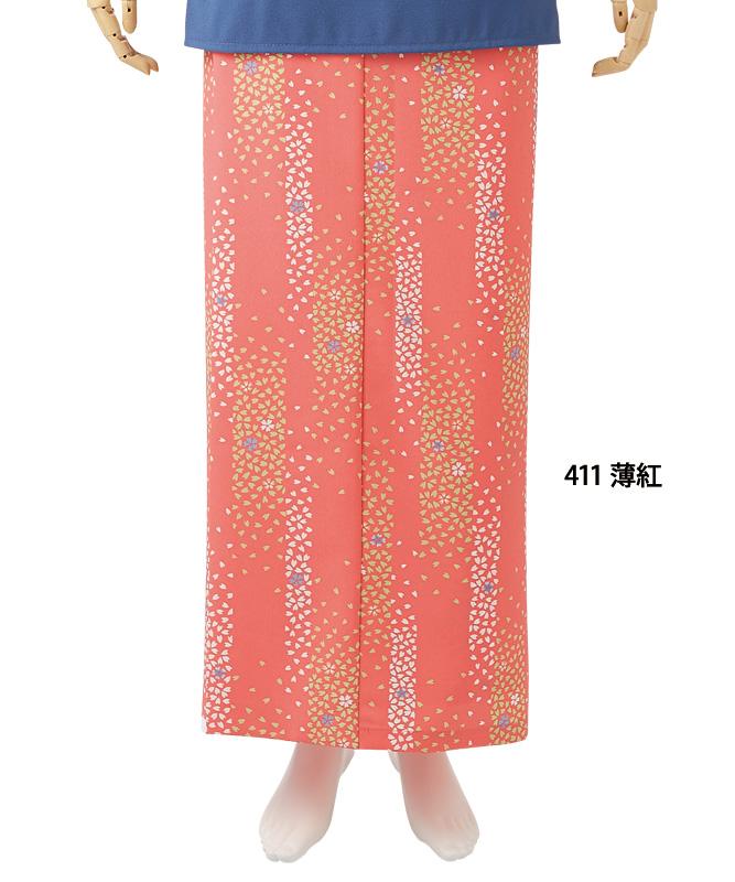 和風ラップスカート桜吹雪柄(腰ヒモ式)[住商モンブラン製品] 7-41