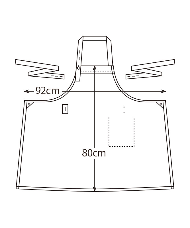ボーダー胸当てエプロン[KAZEN製品] APK912