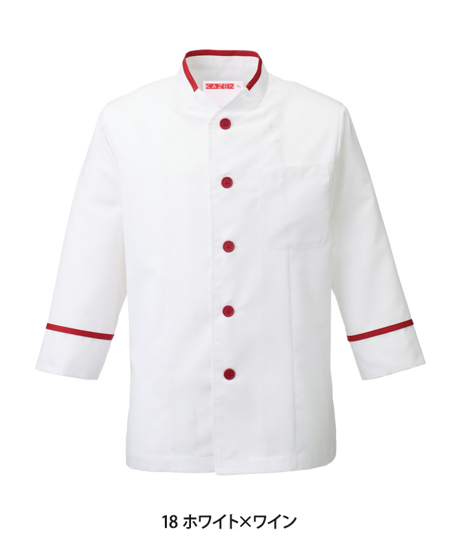 交織アゼックコックシャツ七分袖[男女兼用][KAZEN製品] 646-1