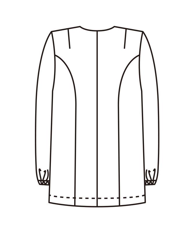 衿なし調理衣長袖[女子][KAZEN製品] 740-30