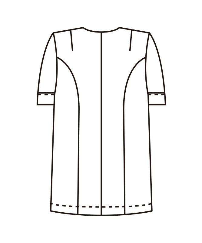 衿なし調理衣半袖[女子][KAZEN製品] 742-30
