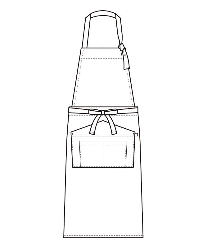 胸当エプロン[男女兼用][セブンユニフォーム製品] QT7356