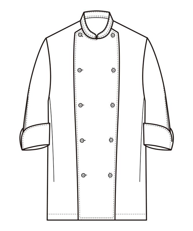 コックコート七分袖[男女兼用][セブンユニフォーム製品] AA498
