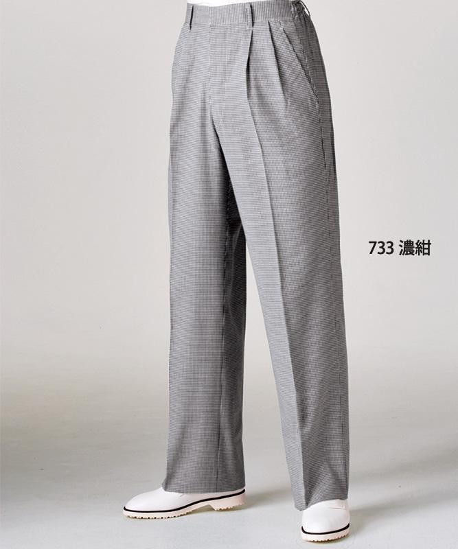 千鳥格子パンツメンズ(ツータック・半ゴム)[住商モンブラン製品] 7-733
