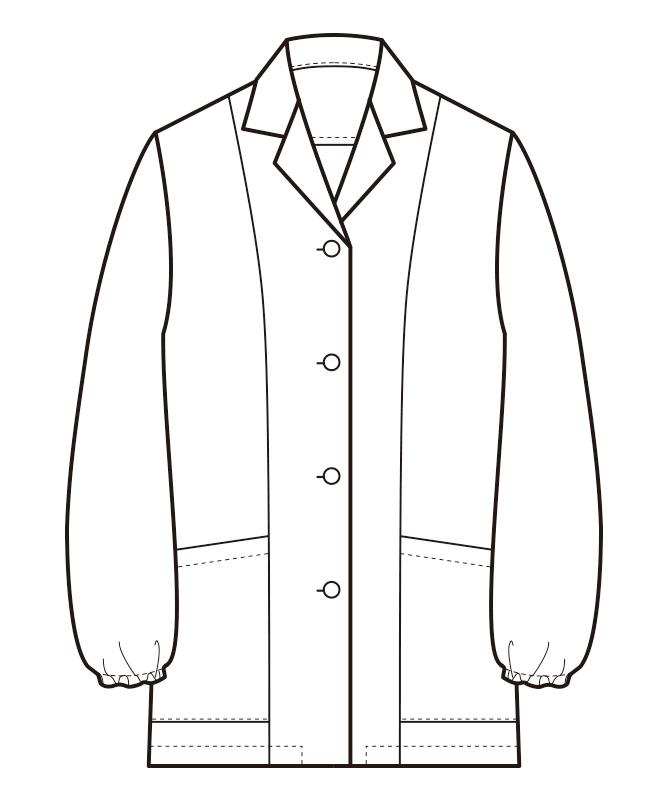 調理白衣長袖(抗菌コート)[女性用][セブンユニフォーム製品] AA335