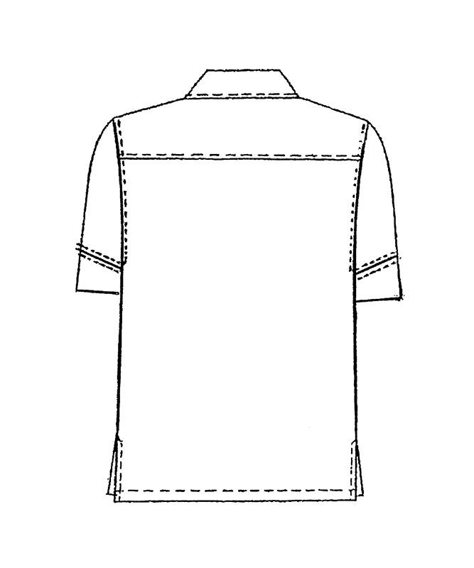 衿付きコックシャツ半袖[男女兼用][KAZEN製品] 401-4