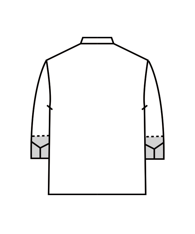 コックコート七分袖(袖口ネット付)[男女兼用][住商モンブラン製品] 6-451