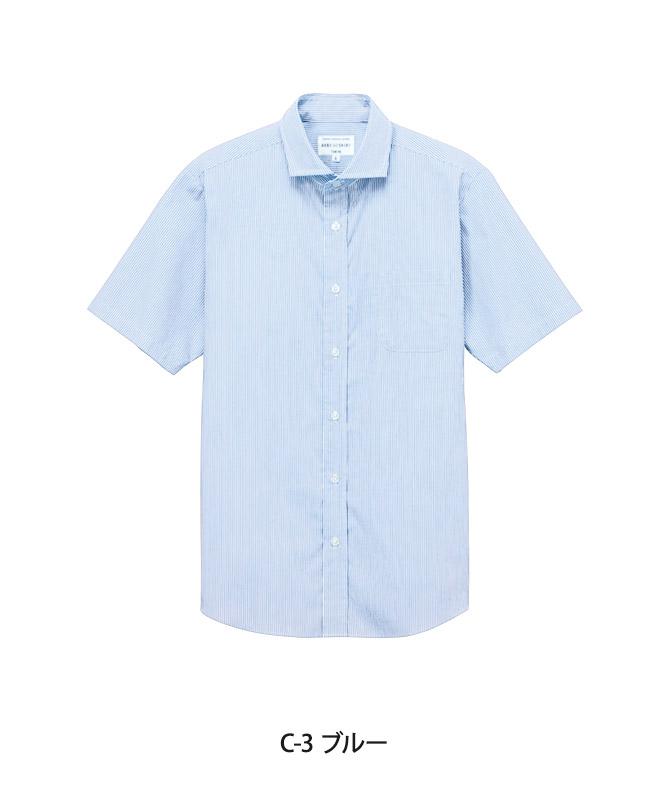 ワイドカラーシャツ半袖(ストライプ)[男女兼用][チトセ製品] EP8369
