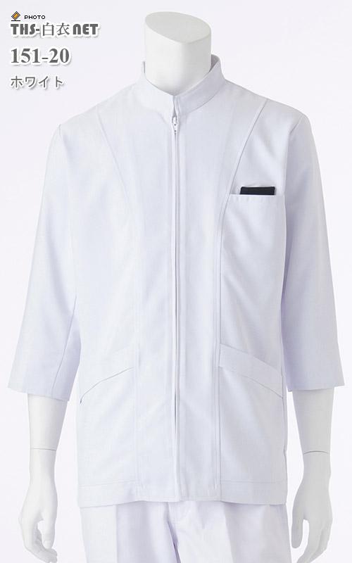 ハイカウントクロスメンズジャケット八分袖[KAZEN製品] 151-20