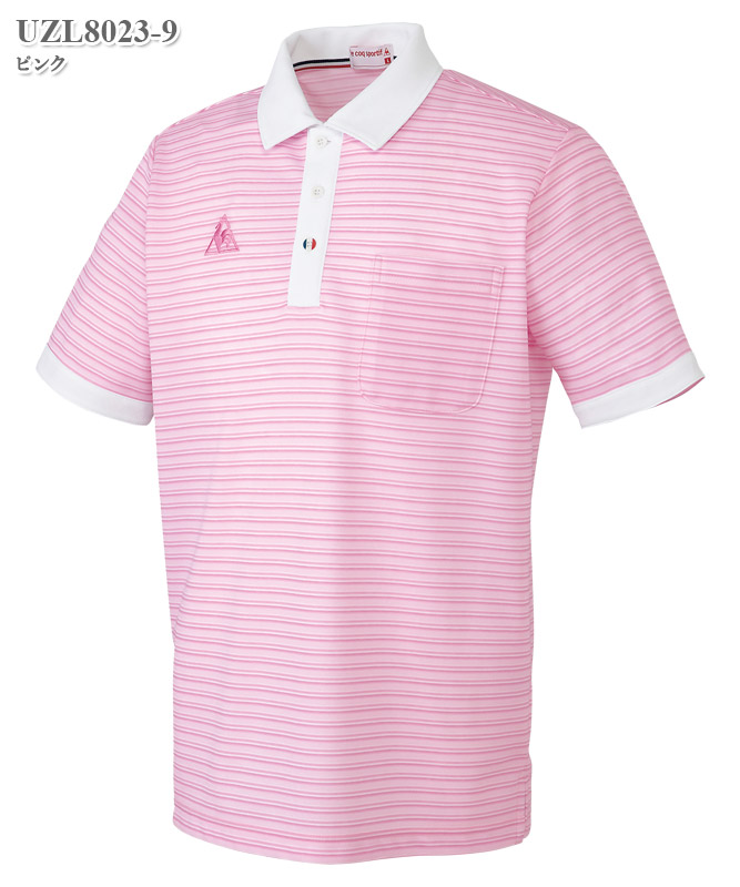 ルコックスポルティフ男女兼用ボーダーニットシャツ半袖[lecoq製品] UZL8023