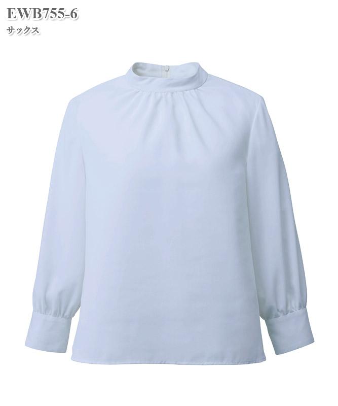 ブラウススタンドギャザー八分袖[女性用][カーシーカシマ製品] EWB755