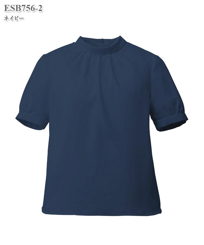 ブラウススタンドギャザー半袖[女性用][カーシーカシマ製品] ESB756