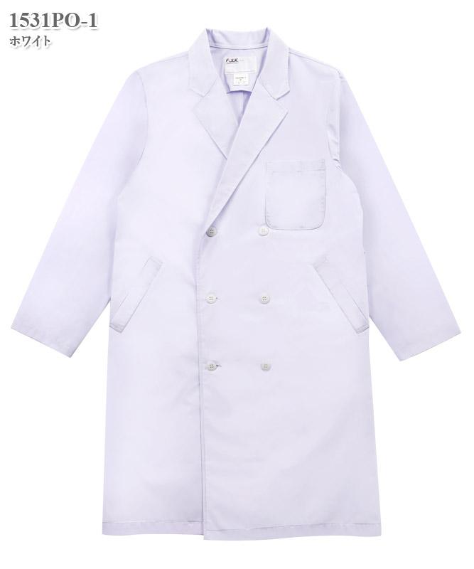 男子白衣ダブル診察衣長袖[フォーク製品] 1531PO