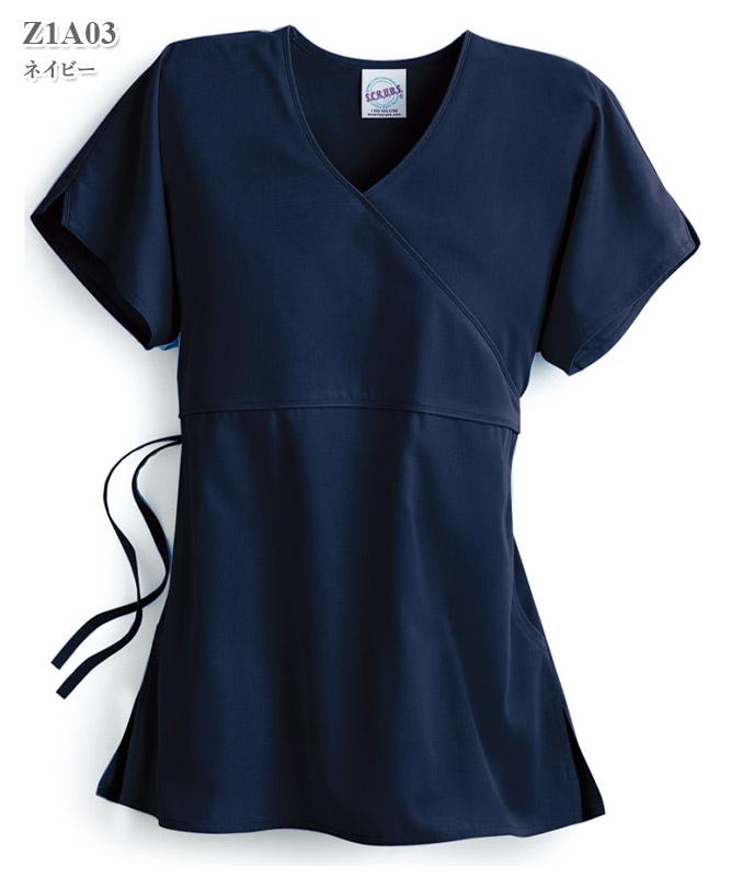 スクラブモックラップトップ半袖(女性用)[スマートスクラブス製品] Z1A03