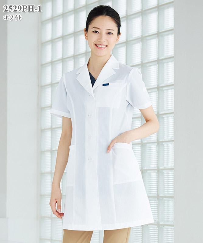 女子白衣シングルコート半袖[フォーク製品] 2529PH-1
