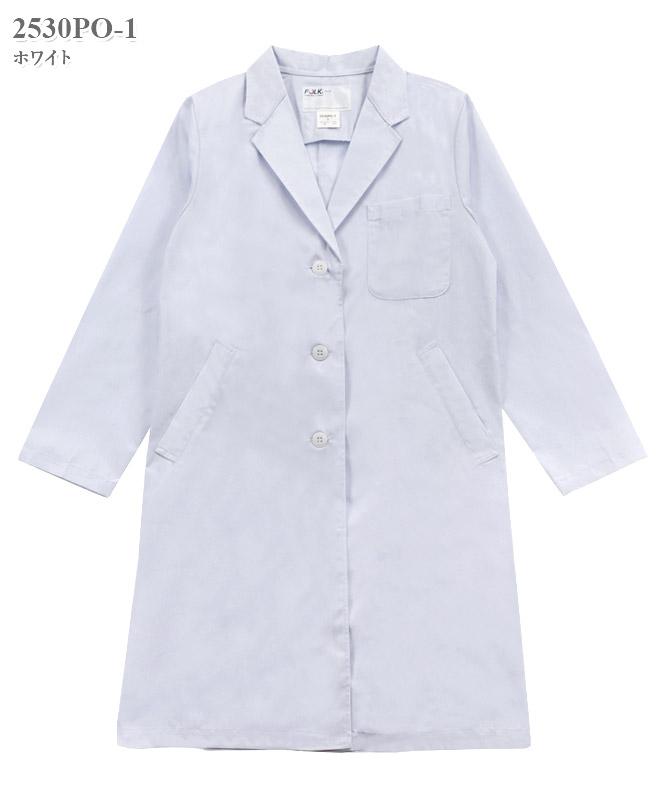 女子シングル診察衣長袖[フォーク製品] 2530PO