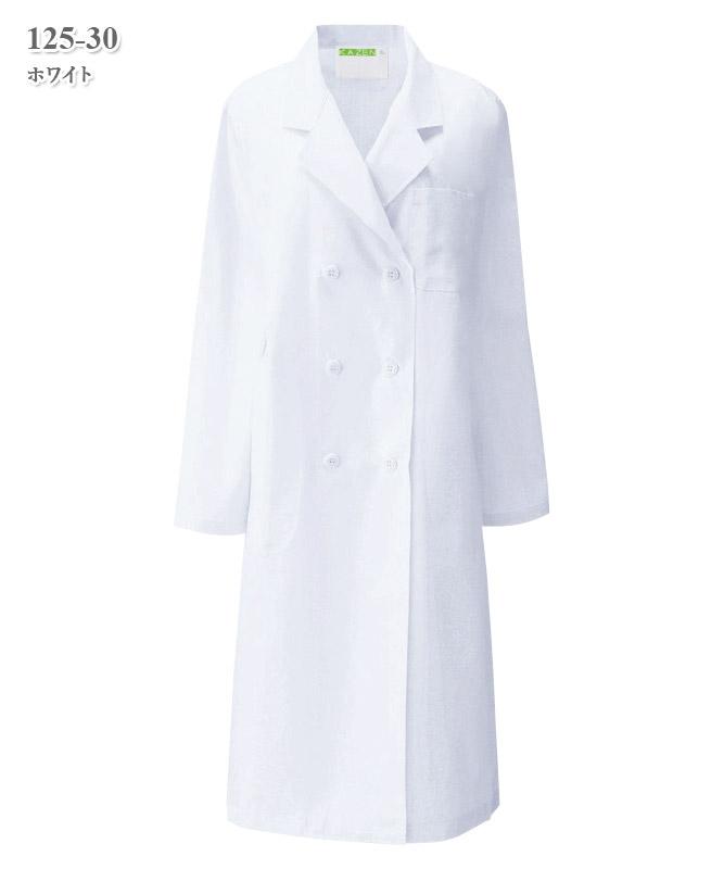 ブロードレディスダブル診察衣長袖[KAZEN製品] 125-30