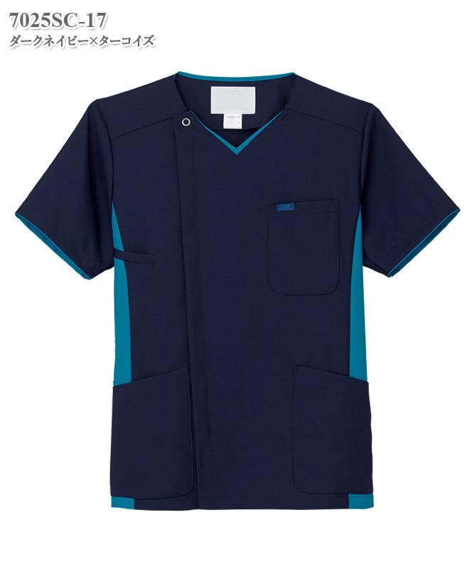 メンズジップスクラブ半袖[フォーク製品] 7025SC