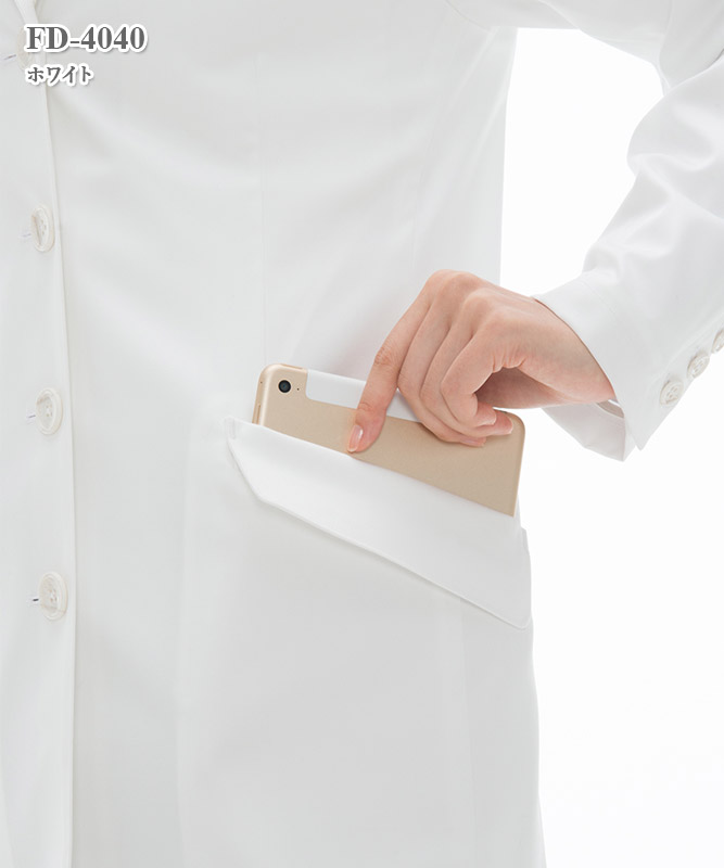 女子シングル診察衣長袖[ナガイレーベン製品] FD-4040