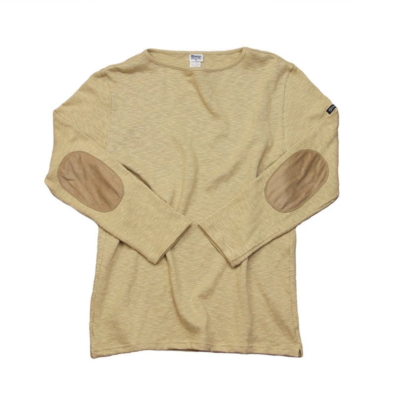 te002-eb ORIGINAL BOATNECK SHIRT WiTH ELBOW PATCH Linen Beige