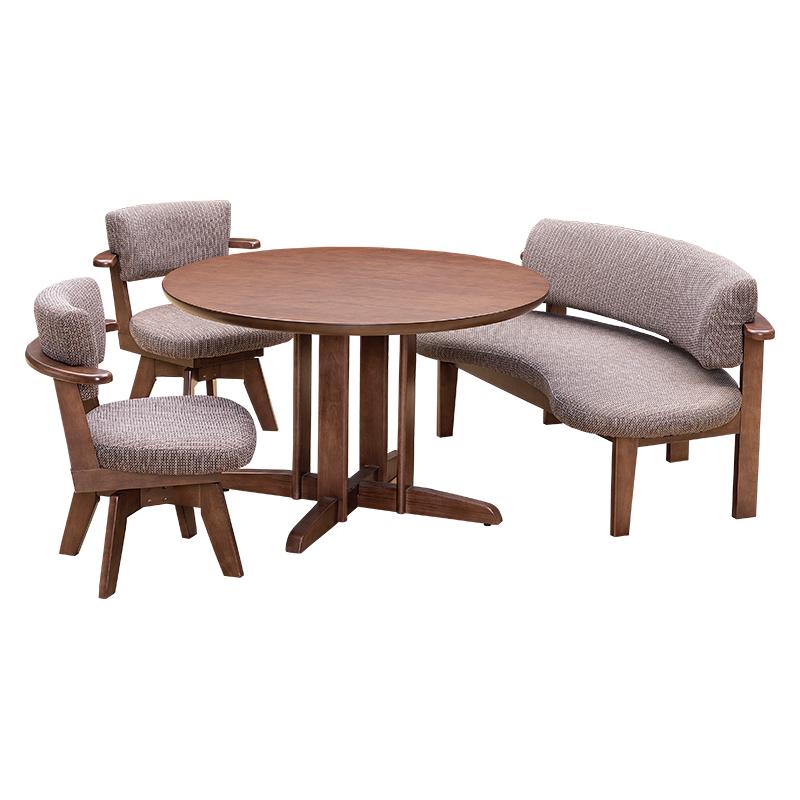ダイニング4点セット (テーブル+ベンチ+回転チェア2脚) DARTS2 110 DBR色(ダークブラウン) 【大型商品配送便でのお届け】