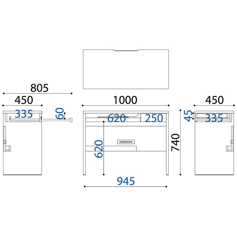 デスク COM-1 C1D−100デスク ホワイト 小島工芸 【大型商品配送便でのお届け】