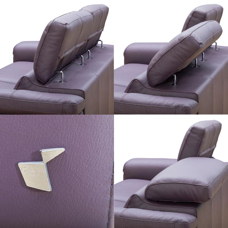 3人掛け革張りソファ 背可動式 DOMIパープル 【大型商品配送便でのお届け】