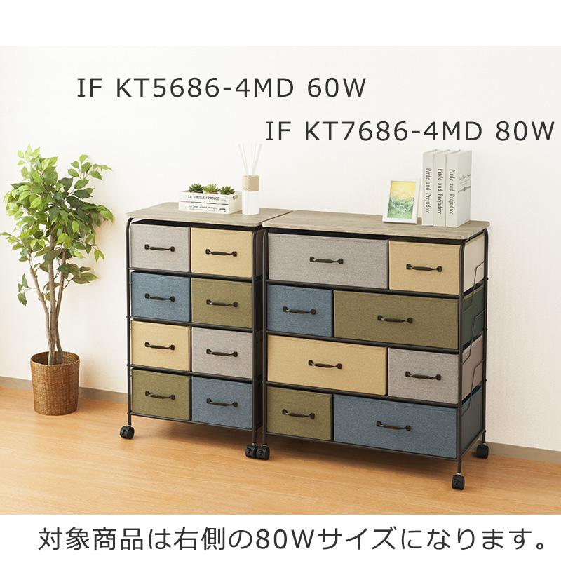 4段チェスト80W IF KT7686-4MD 80W 【if HOME COLLECTION】 ※ お客様組み立て商品