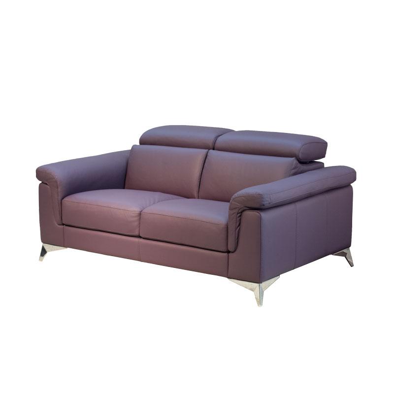 2人掛け革張りソファ 背可動式 DOMIパープル 【大型商品配送便でのお届け】