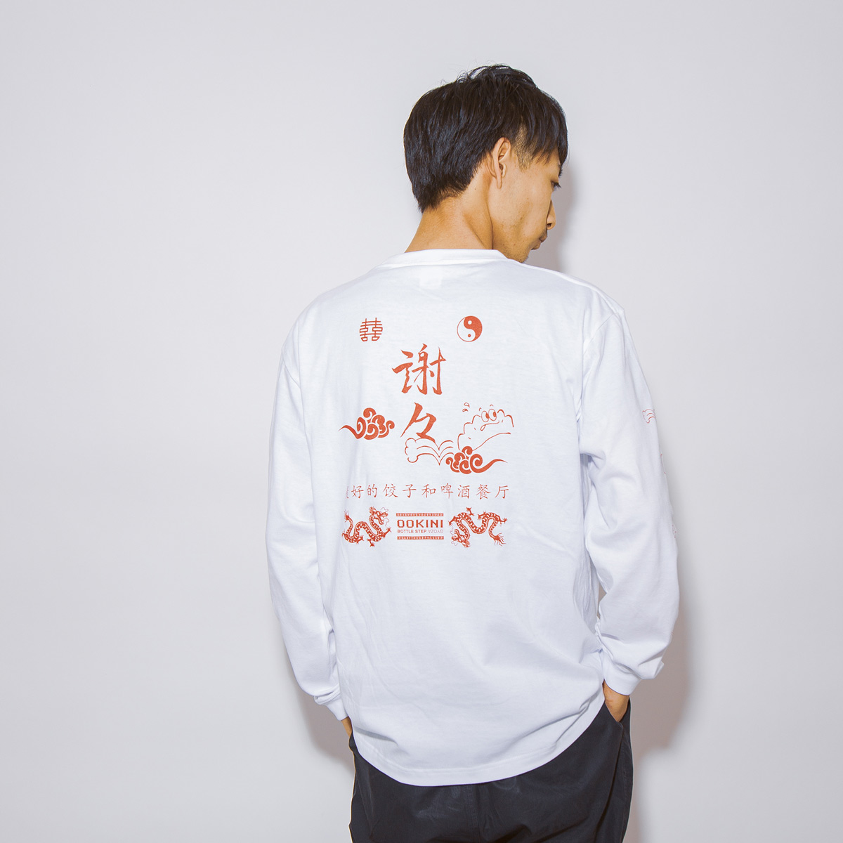 瓶踊餃子 BOTTLESTEP LongTee WHT×RED