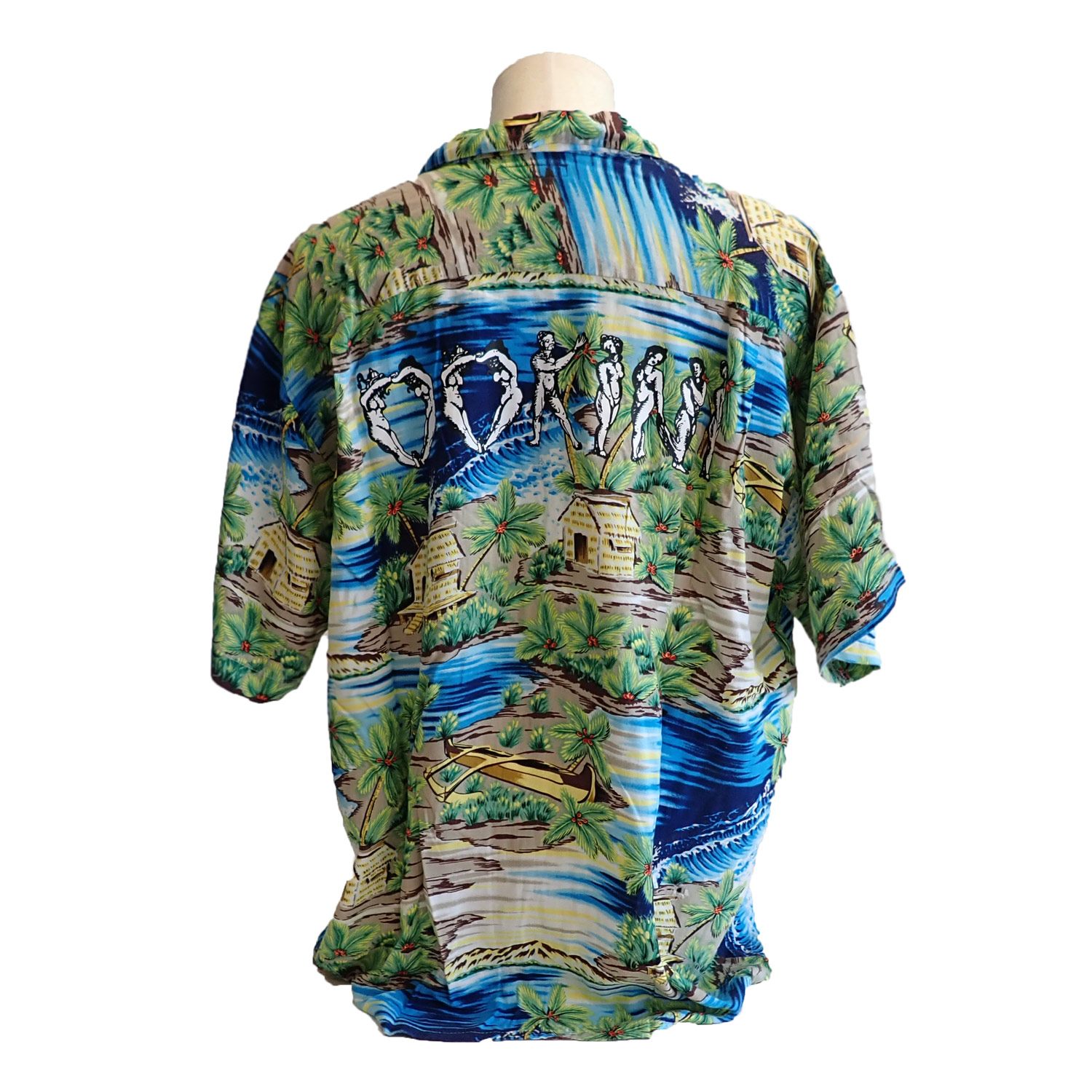 ink × OOKINI ALOHA shirts BLUE×BROWN Lsize