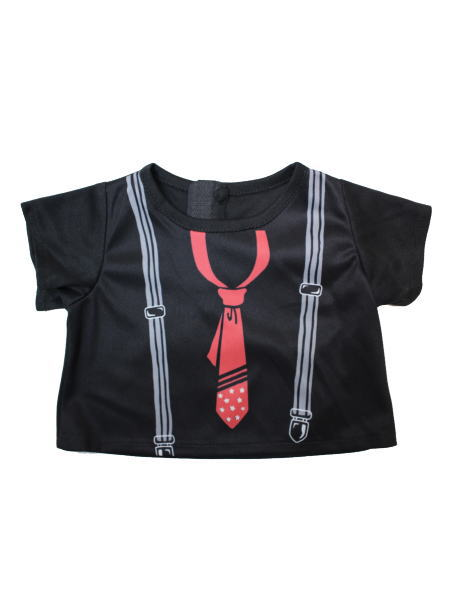 〜Time Roman Collection〜 Tシャツ/ネクタイ・サスペンダープリント/ブラック&レッド(T19)