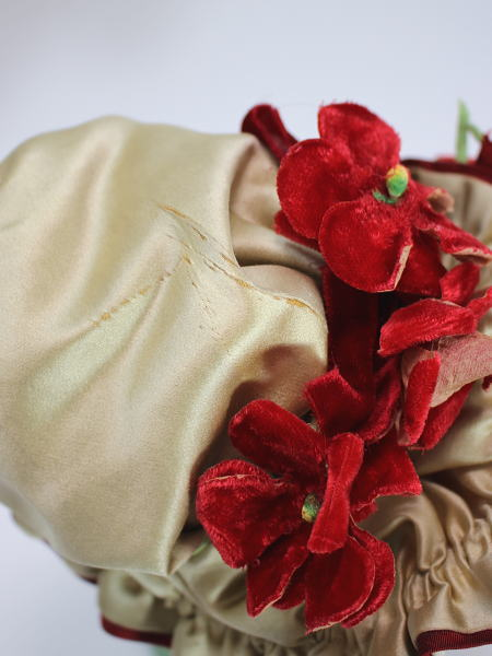 約45〜50cm位 ドールサイズ用 作家1点もの 赤いドレス&ボンネットセット