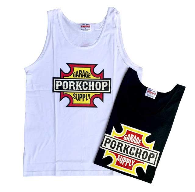 PORKCHOP GARAGE SUPPLY ポークチョップ ガレージサプライ BAR&SHIELD TANK TOP バー&シールド タンクトップ 2色(BLACK/WHITE)