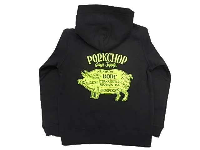 PORKCHOP ポークチョップ PORK BACK HOODIE for Kids P-20 子供用 ポーク バック フーディ 長袖 プルパーカー 2色(BLACK/GREEN)