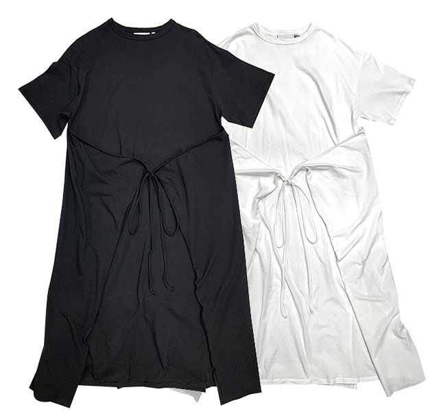【SALE 20%OFF】kha:ki カーキ SIDE WRAP DRESS サイド ラップ ドレス  2色(BLACK/WHITE)