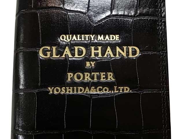 PORTER ポーター × GLAD HAND グラッドハンド GH-PARCEL iPhone8ケース CROCOLIKE BLACK ブラック ダイヤリータイプ 手帳タイプ GLADHAND BY PORTER YOSHIDA & Co., LTD. 日本製