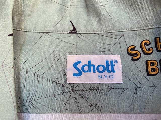【SALE 50%OFF】SCHOTT ショット HAWAIIAN SHIRT BAT & SPIDERWEB ハワイアン シャツ バット&スパイダーウェブ ハワイアンシャツ アロハシャツ 2色(SAGE/WHITE)