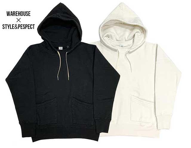 【当店別注】WAREHOUSE ウエアハウス × STYLE & RESPECT スタイル&リスペクト 後付けパーカー 2ND-HAND 2色(BLACK/WHITE)日本製