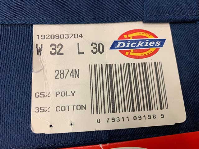 Dickies ディッキーズ 2874N ワークパンツ ライナー付き color:NAVY アメリカ製 DEADSTOCK デッドストック【Vintage ヴィンテージ】【中古】