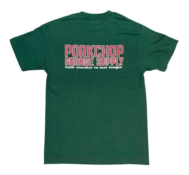 PORKCHOP GARAGE SUPPLY ポークチョップ ガレージサプライ OLD PORK SIGN TEE オールド ポーク サイン Tシャツ 2色(WHITE/FOREST GREEN) 半袖