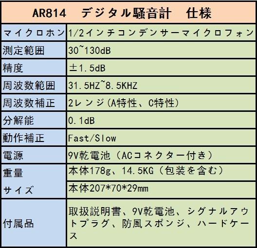 SMART SENSOR デジタル騒音計 AR814