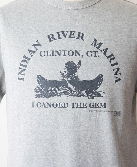 """COLIMBO コリンボ PRINTED T-SHIRTS """" Indian River Marina """" (MOCK GRAY)"""
