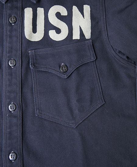 "FREEWHEELERS フリーホイーラーズ U.S.N. OFFICER SHIRT "" U.S.N. PIRATES """