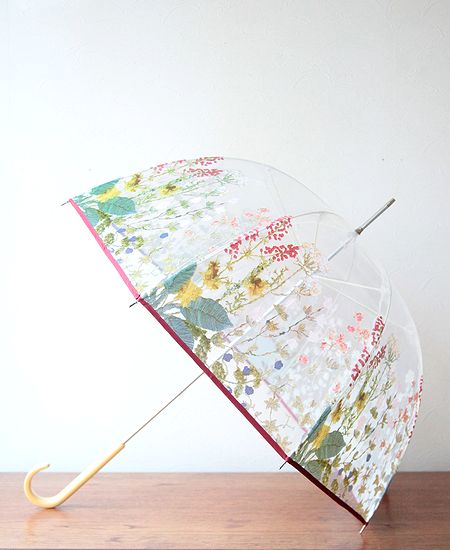 muuc ムーク ハンド刺繍をプリントした透明ビニール傘