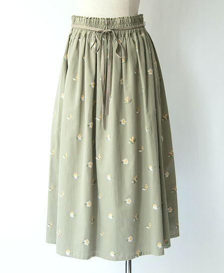 muuc ムーク お茶花刺繍ギャザースカート