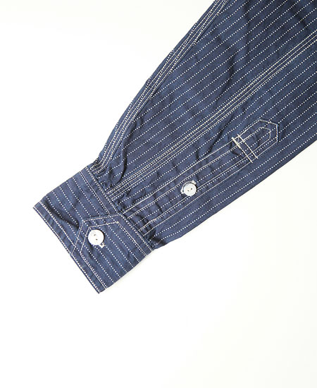 FREEWHEELERS フリーホイーラーズ  THE IRONALL FACTORIES CO. LONG SLEEVE WORK SHIRT (INDIGO WABASH STRIPE)