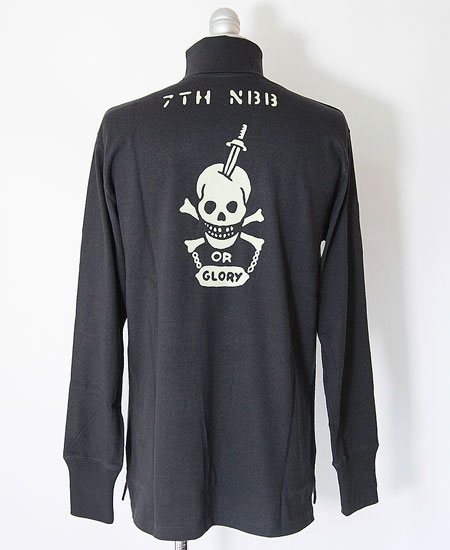 "FREEWHEELERS フリーホイーラーズ  TURTLE NECK LONG SLEEVE "" N.C.D.U. 7TH NBB "" (JET NAVY)"