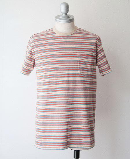 STEVENSON OVERALL CO. スティーブンソン オーバーオール Classic Bordered Pocket T-shirt (Beige)